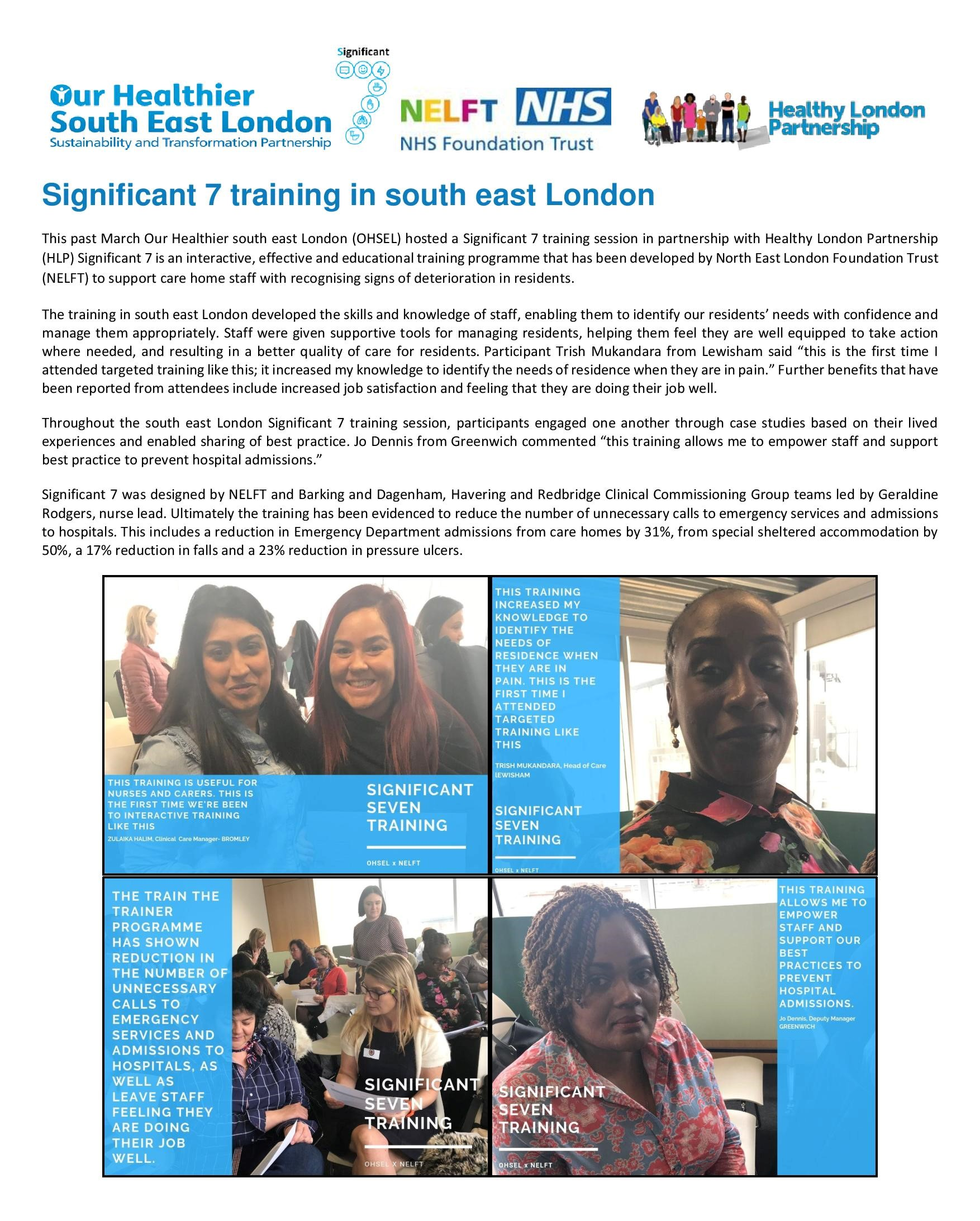 Significant 7 training in south east London