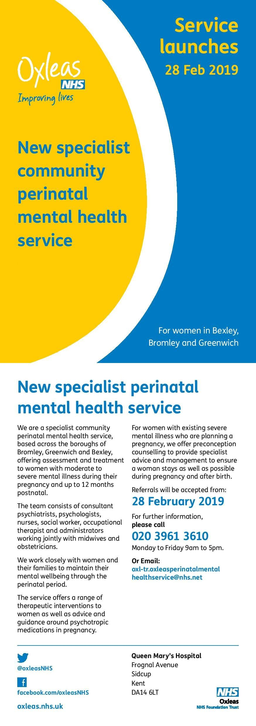 New specialist community perinatal mental health service
